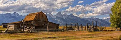 Moulton Barn Panorama - Grand Teton National Park Wyoming Poster by Brian Harig
