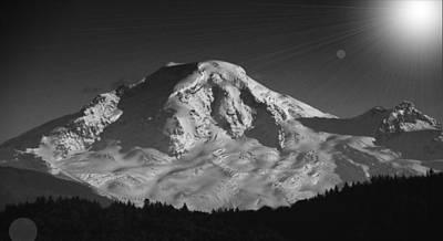 Mount Baker Sun Burst Poster by Brent Davis