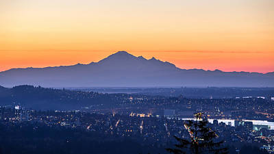 Mount Baker Sunrise From West Vancouver Poster by Pierre Leclerc Photography