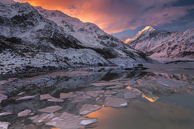 Mount Cook And Mueller Lake In Mount Poster by Colin Monteath