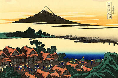 Mount Fuji And The Village Poster