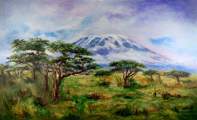 Poster featuring the painting Mount Kilimanjaro Tanzania by Sher Nasser