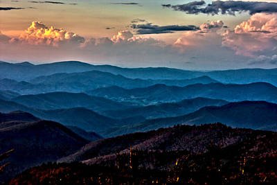 Poster featuring the photograph Mount Mitchell Sunset by John Haldane