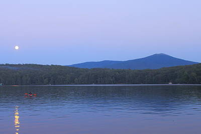 Mount Monadnock Full Moon Paddler Poster by John Burk