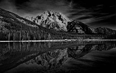 Mount Moran In Black And White Poster by Raymond Salani III