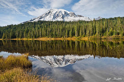 Poster featuring the photograph Mount Rainier And Reflection Lakes In The Fall by Jeff Goulden