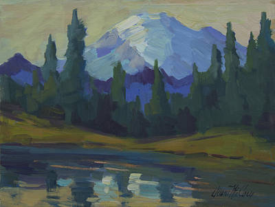Mount Rainier And Yellow Sky Poster by Diane McClary