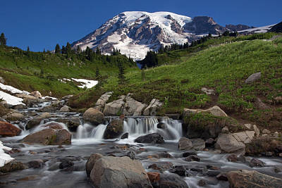 Poster featuring the photograph Mount Rainier At Edith Creek by Bob Noble Photography
