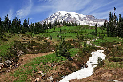 Mount Rainier At Paradise Poster by Bob Noble Photography