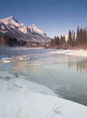 Mount Rundle And Creek In Winter  Poster