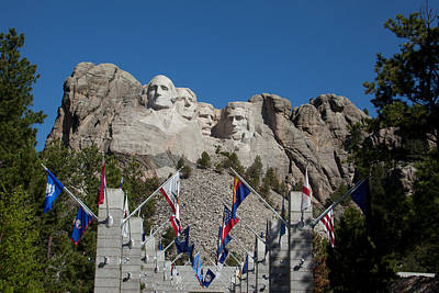 Mount Rushmore Avenue Of Flags Poster