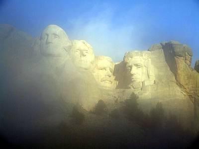 Mount Rushmore National Memorial Through The Fog  Poster