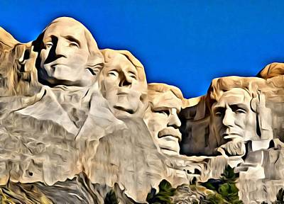 Mount Rushmore Painting Poster