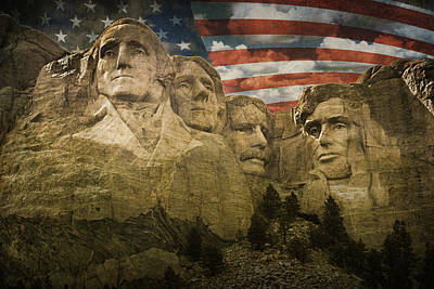 Mount Rushmore With The Stars And Stripes Poster by Randall Nyhof