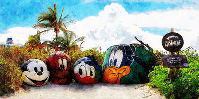 Mount Rustmore Castaway Cay Poster by Sandy MacGowan