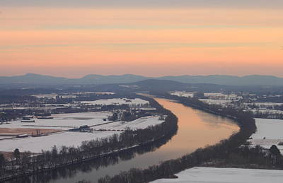 Mount Sugarloaf Connecticut River Winter Sunset Poster by John Burk
