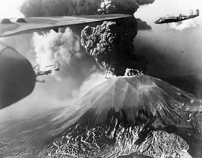 Mount Vesuvius Erupting Poster by Us Air Force