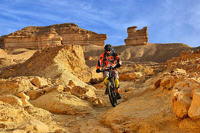 Mountain Biker In A Desert Poster