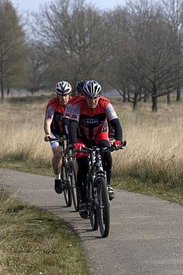 Mountain Bikers In National Park Dwingelderveld Netherlands Poster