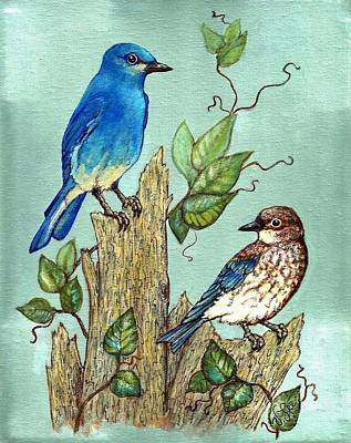 Poster featuring the painting Mountain Bluebirds by VLee Watson