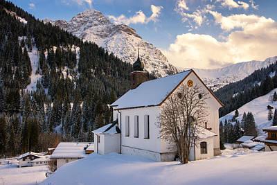 Mountain Church In The Alps - Baad Kleinwalsertal Austria In Winter Poster
