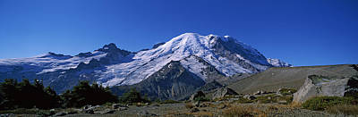 Mountain Covered With Snow, Mt Rainier Poster