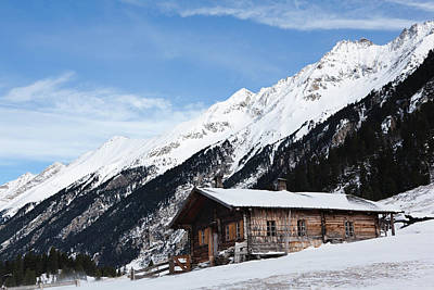 Mountain Hut Or Alpe During Winter Poster by Martin Zwick