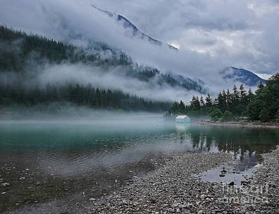 Mountain Lake With Heavy Fog Ross Lake Washington Poster