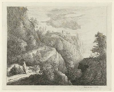 Mountain Landscape With Figures Resting On Side Of Road Poster