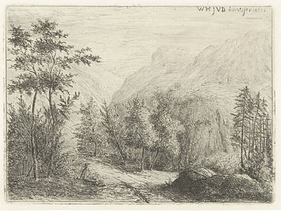 Mountain Landscape With Resting Figure Along Road Poster
