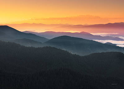 Mountain Layers Sunrise Poster by Leland D Howard
