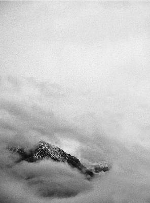 Mountain Peak In Clouds Poster