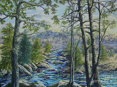 Poster featuring the painting Mountain Stream II by Gail Allen