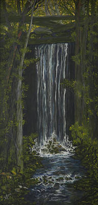 Mountain Waterfall Poster by BJ Hilton Hitchcock