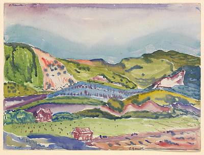 Mountain With Red House Poster by Charles Demuth