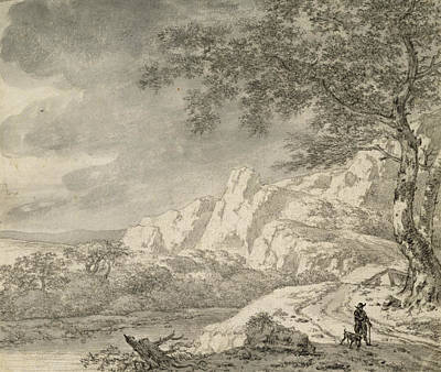 Mountainous Landscape With A Hiker Chalk And Indian Ink On Paper Poster