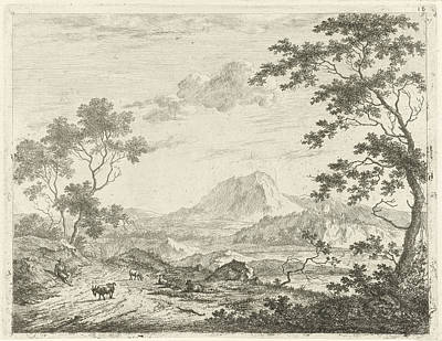 Mountainous Landscape With Resting Shepherd Poster