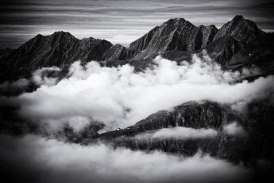 Mountains And Clouds Black And White Poster by Matthias Hauser