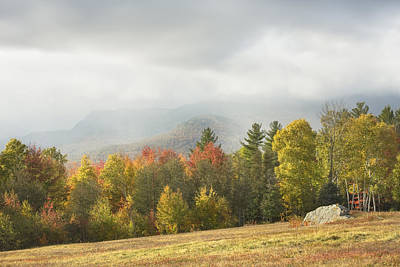 Mountains And Rain Storm In Fall Mount Blue State Park Weld Maine Poster by Keith Webber Jr