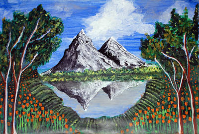 Poster featuring the painting Mountains On A Lake by Saranya Haridasan