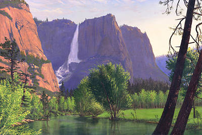 Mountains Waterfall Stream Western Mountain Landscape Oil Painting Poster by Walt Curlee