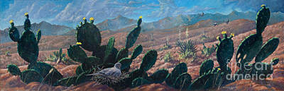 Poster featuring the painting Mourning Dove Desert Sands by Rob Corsetti