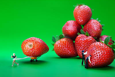 Poster featuring the photograph Moving Strawberries To Depict Friction Food Physics by Paul Ge