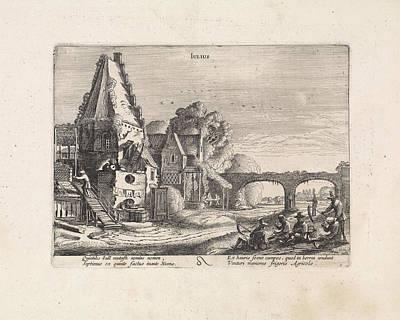 Mowers Resting Near A House, July, Jan Van De Velde II Poster