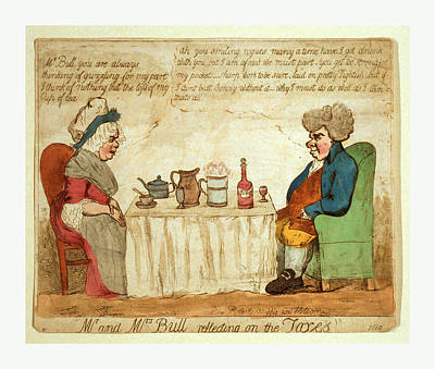 Mr. And Mrs. Bull Reflecting On The Taxes Poster by Litz Collection