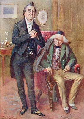 Mr Pecksniff And Old Martin Chuzzlewit, Illustration For Character Sketches From Dickens Compiled Poster by Harold Copping