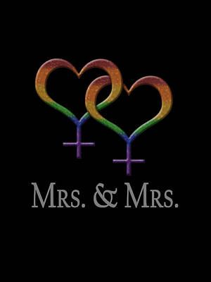 Mrs. And Mrs. Lesbian Pride  Poster by Tavia Starfire