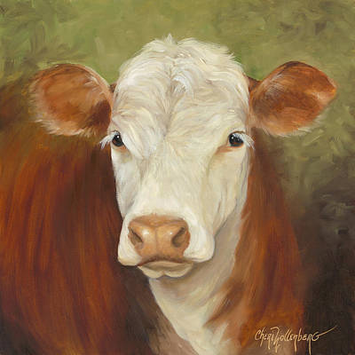 Poster featuring the painting Ms Sophie - Cow Painting by Cheri Wollenberg