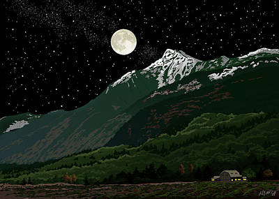 Mt Cheam In Moonlight Poster by Artellus Artworks