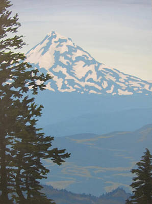Poster featuring the painting Mt Hood by Karen Ilari